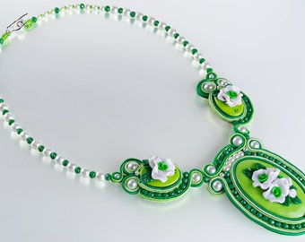 Soutache Polymer Clay Cameo Necklace, White Green Flowers Pendant, Sterling Silver Earrings, Shabby Chic, OOAK