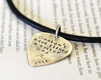 Guitar Pick Necklace - Leather Mens Necklace - Sterling Silver Guitar Pick - Gift For Him - Musician Gift - Mens Leather Necklace