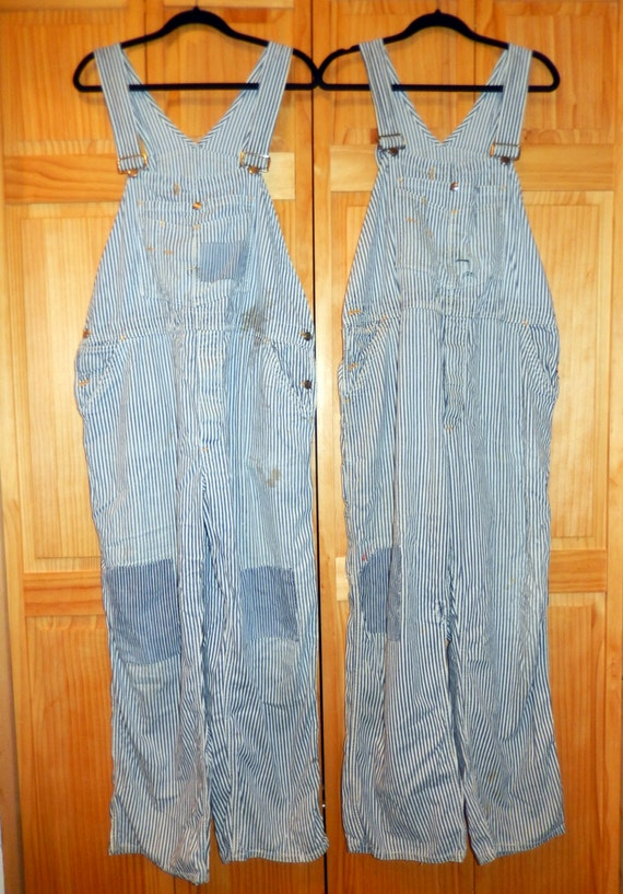 """Vintage 1938 RARE"""" Cant Bust Em"""" Railroad Overalls/Coveralls work farm ranch railroad work-1 Pair left with the 1 patch knee"""