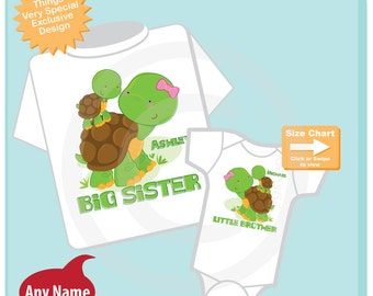 Personalized Set of 2 Big Sister and Little Brother Turtles Tee Shirts or Onesies (10242014h)