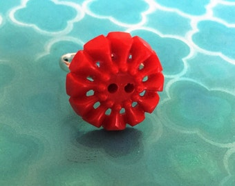 Red party vintage button  ring