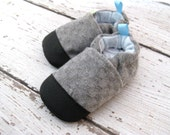 Wool Checker Board Grey Non-Slip Soft Sole Baby and Toddler Shoes Non-slip  Made to Order Gray