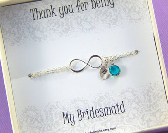 Bridesmaids Bracelet,Personalized Bridesmaids Bracelet, Birthstone And Hand Stamped Leaf Bracelet,Thank you for being my bridesmaid