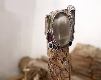 Sterling Silver Ring with Moonstone, Garnet, Quartz Crystal, Green Tourmaline, Amethyst, Sapphire RF753
