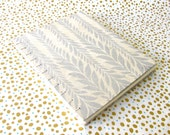 silver leaves on natural coptic journal notebook, handmade book hardcover