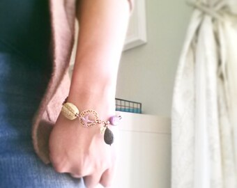 Bead Bracelet Beaded Bracelet Charm Bracelet Chunky Bracelet Ceramic Bead Bracelet Layering Stacking Bracelet Minimalist Glass Beads Sparrow