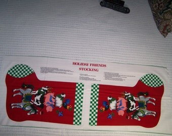 HOLIDAY FRIENDS STOCKING Fabric Panel