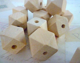 Geometric Wooden Beads - Natural - 20mm - Pack of 50