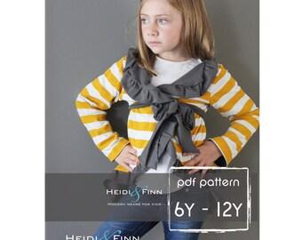 Girly Cardigan jacket sewing pattern 6y - 12y EASY Sew pdf DIY sweater coat