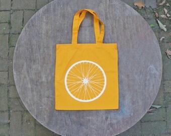 Large Bicycle Wheel Tote Bag / Screen Print on Sunshine Gold Tote Bag