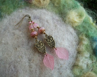Pink Owl Beaded Earrings, Bronze Owl Earrings, Nature Garden Earrings