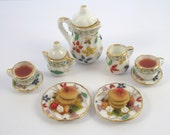 Dollhouse Miniature Food Pancakes and Tea Set in 12th Scale