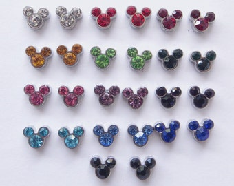 Magnetic Mickey Mouse Birthstone Earrings Clip on non pierced ears U-Pick Color