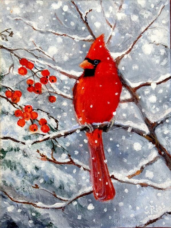 Cardinal Red Cardinal Print Cardinal in Snow Red Bird Bird