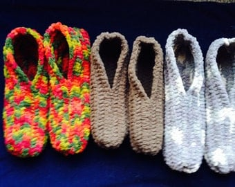 Thick & Warm Handmade Crocheted FAUX FUR Men's Slippers Size 13-16 With 3 Color Choices