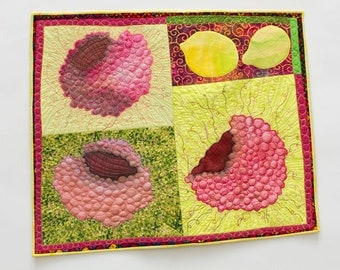 Raspberries and lemons wall quilt, pink and green fruits textile art