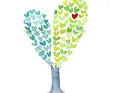 Heart Tree art Print, Valentines day art, anniversary, girly, aqua green, mothers day, weddings, wasave the date, personalized, watercolor