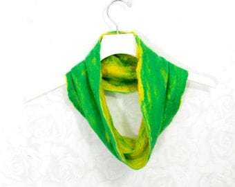 Felted Cowl Wool Cowl Gift for Her  Infinity Scarf Circle Scarf Felt Scarf Wool Scarf Yellow Green Winter Scarf Fall Scarf Womens Scarf OOAK