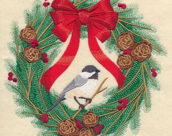 CHICKADEE-Dee CHRISTMAS WREATH - Machine Embroidered Quilt Blocks (AzEB)