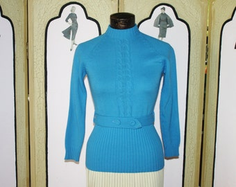 Vintage 60's Powder Blue Belted Sweater by Show Offs. Small to Medium.