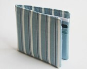 Mens wallet, Wallet, Billfold, Vintage Upcycled Fabrics, Blue Stripe, Handmade by Knotted Nest on Etsy
