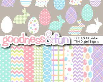 Buy 2, Get 1 FREE - Simply Easter Clipart & Digital Paper Pack - Digital Easter Clipart and Digital Easter Paper Pack - Instant Download