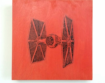 Wood Wall Art Star Wars Decor Print Tie Fighter Painting on Wood Customize Colors And Size Star Wars Art On Wood Panel Painting Movie Poster