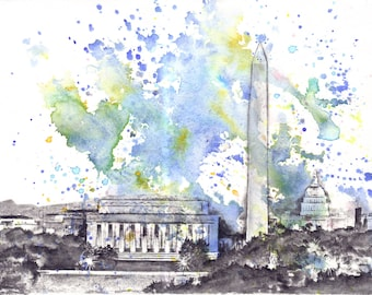 Washington DC Cityscape Skyline Landscape Art Print From Original Watercolor Painting 17 x 22 in Large Wall Art Print