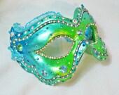 CUSTOM Masquerade Ball Mask - Crystal Mask - Rhinestone Mask - Venetian Mask - Jeweled Mask - Blue and Green - Paper Mache - Beguiled