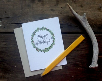 HOL-141 Happy Holidays letterpress watercolor card