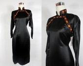 1930 1940 Black Silk Satin Asian Style Dress
