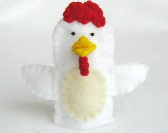 Hen, hen puppet, hen finger puppet, hen felt puppet, chicken puppet, chicken finger puppet, felt puppet, finger puppet, felt finger puppet