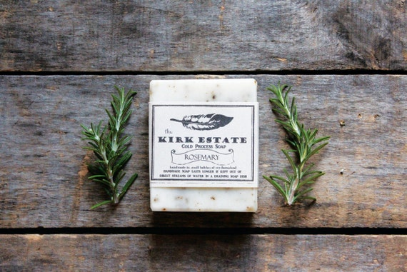 Rosemary, Feather, large bar, cold process soap, artisan soap, all natural soap, lightly scented, vegan soap, herbal soap, bath + body