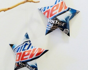 Mountain Dew Voltage Recycled Soda Can Aluminum Stars - Set of 2 Christmas Ornaments