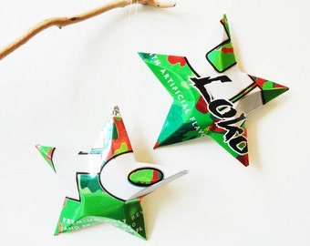 Four Loco Energy and Alcohol Decorative Aluminum Stars, Upcycled Aluminum, Recycled Can Ornaments, Green Red White
