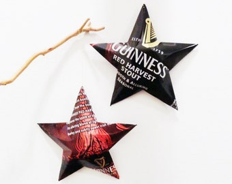 Guinness Red Harvest Stout Beer Stars, Set of 2 Ornaments Aluminum Can Upcycled Seasonal, Red and Black