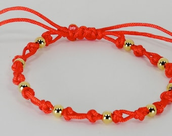 Dovetail Good Luck Red String Bracelet with 14K Gold Plate