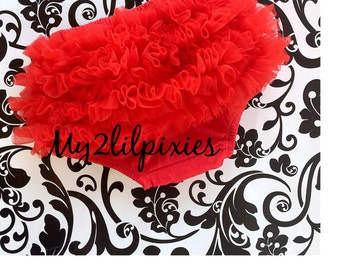 RED Ruffle BLOOMER, Ruffle Bum Baby Bloomer, Diaper Cover,  Ruffle Diaper Cover, Baby Girl Bloomers -newborn bloomer, Ready to Ship!