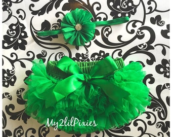 Baby Bloomer and headband , Green Ruffle Bloomer, Saint Patricks day Boomer, Diaper Cover, ruffle diaper cover, newborn headband, baby gift