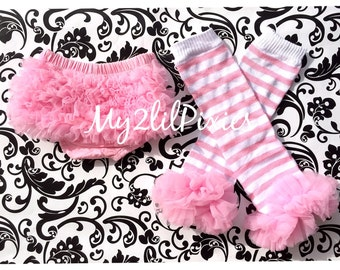 LEG WARMERS and BLOOMERS- Pink Leg Warmers- Ruffle Bloomers- Pink Ruffle Bloomers- Chiffon Ruffles- Ruffle Leg Warmers- Pink Stripe