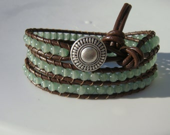 Aventurine Beaded Leather Wrap Bracelet