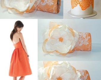 Bridesmaid Clutch - Orange and Ivory Wedding - READY TO SHIP - Bridesmaid Gift - Personalized Wedding - Custom Clutch - Maid of Honor Gift