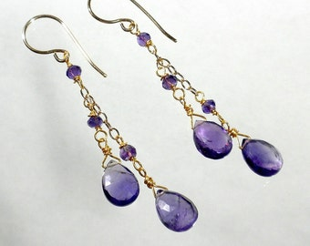 Purple Amethyst Earrings, Amethyst Drop Earrings, Amethyst Cascade Earrings, February Birthstone, Natural