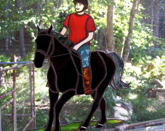 Stained Glass Art - Horse and Rider