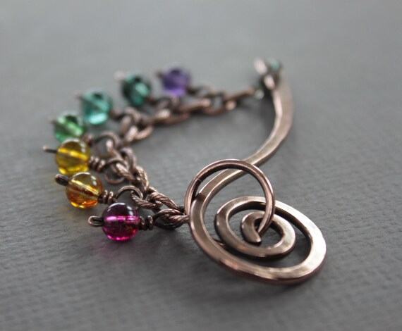 Rainbow shawl pin stick, scarf pin with multicolored dangles on chain and lobster clasp closure