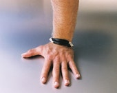 Sterling Hand bracelet with leather