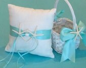 Beach Wedding Ring Bearer Pillow & Basket White Linen w/ Sand Dollars or Starfish and 8 Ribbon Choices