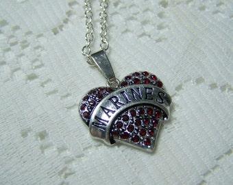 Marines Rhinestone Heart Pendant - Military Jewelry - Military Wife, Military Mom, Military Love - Marines, Armed Forces, Warrior - USMC