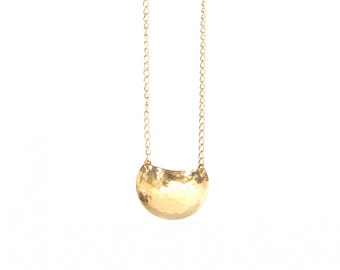 Eclipse Pendant - Brass textured dome circle