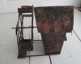 Vintage Tin Music Box Paddle Wheel Mill Plays Swanee River Red